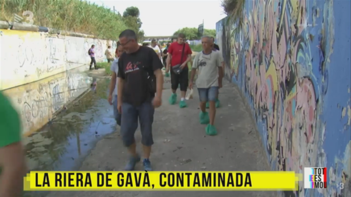 Vecinos y vecinas aparecen en TV3 para denunciar el estado de la Riera dels Canyars.