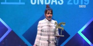 Candela Peña en la entrega del Premio Onda.