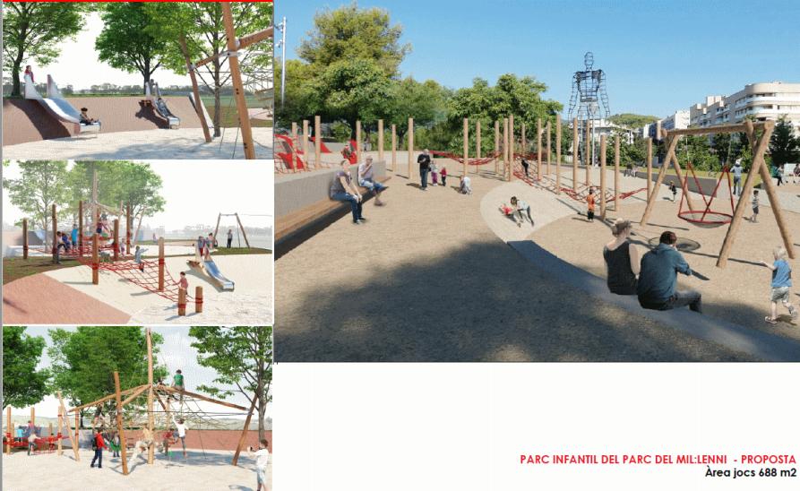 Nueva área del parque infantil.