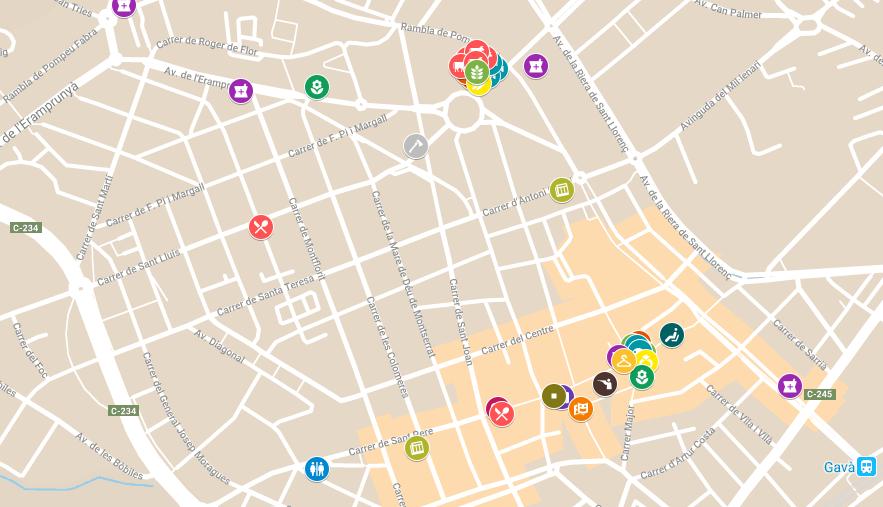 Mapa con los establecimiento.