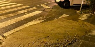 Paso de cebra en Santa Creu de Calafell. (Foto de anteriores lluvias).