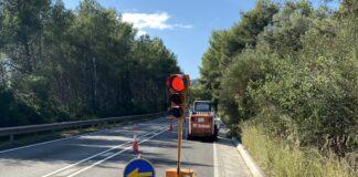 Obras en la carretera de Gavà a Begues.