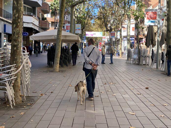 Un vecino de Gavà pasea el perro en la Rambla.