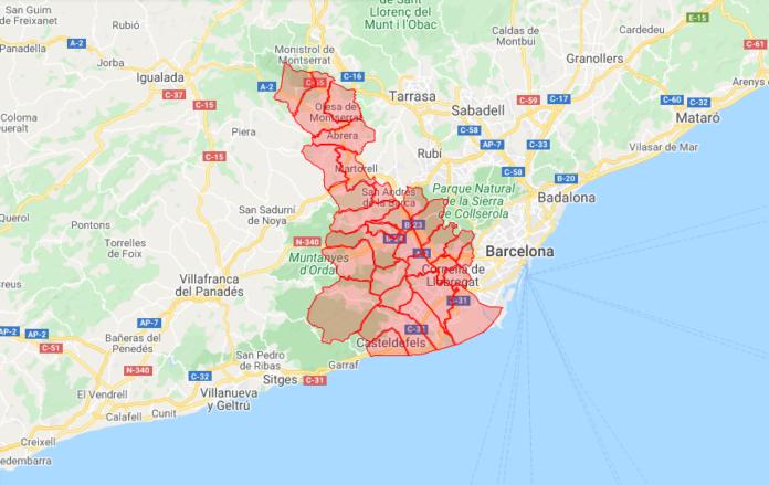 Baix Llobregat (ver mapa abajo).