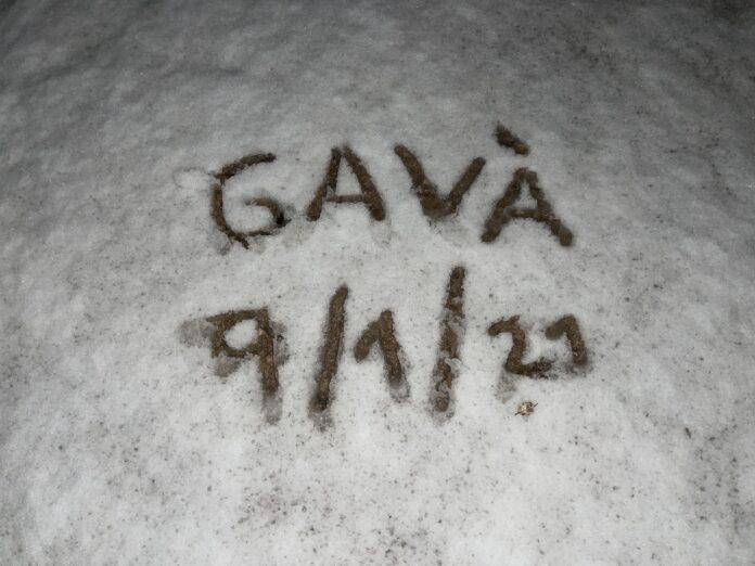 Nieve en Gavà. 9/1/2021. Dibujo realizado en el Camí de l'Ermita (entorno Castell d'Eramprunyà).