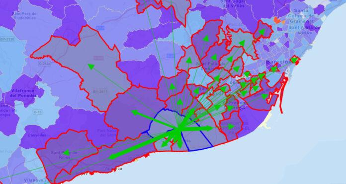 Mapa del INE con datos de movimiento de los gavanenses.