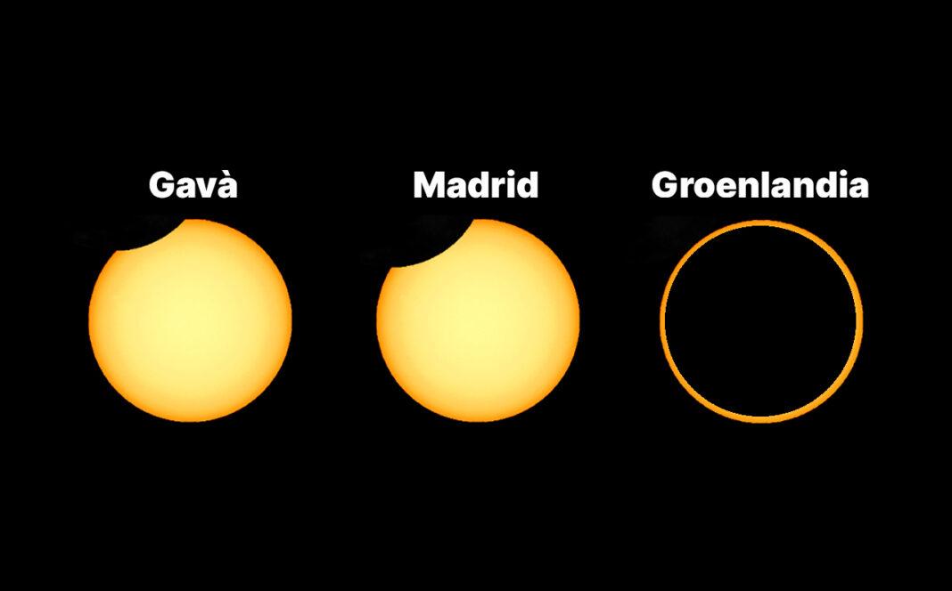 El máximo del eclipse en Gavà, Madrid y el norte de Groenlandia.